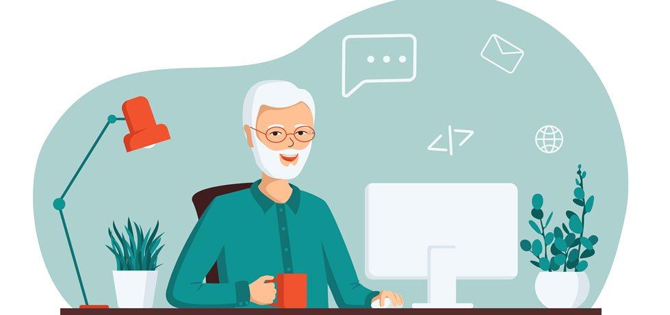 idoso usando computador