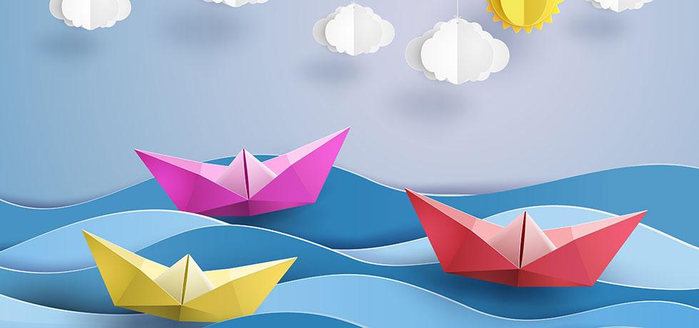 Dinâmica do barco ilustrada por barquinhos coloridos na água
